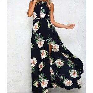 NWT XL Plus Floral Maxi dress faux wrap halter